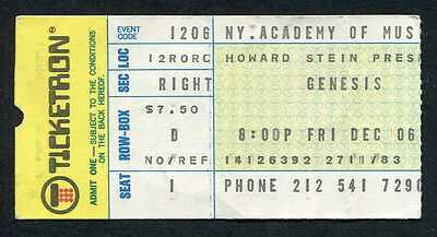 Original 1974 Genesis concert ticket stub NY Academy of Music Rare Peter Gabriel