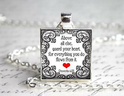 Guard Your Heart  Proverbs 4:23 Pendant Charm or Keychain Jewelry Religious