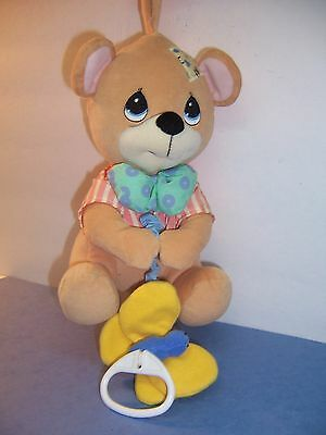 Precious Moments Bear Musical Pull/butterfly Plays Lullabye - Vgc