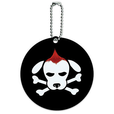 Skulls Crossbones Dog Stick Figure Family Pet Round Luggage ID Tag Card Suitcase