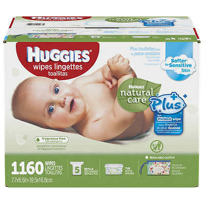 HUGGIES Baby Wipes Natural Care Plus FREE CARRYING CASE  1160 Ct. $0.029 EACH