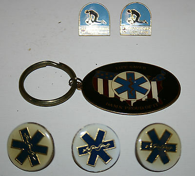 WOW Brass E.M.T Key Chain & Metal Pins CPR Life Saver Medical Pin Lot of 6 Rare