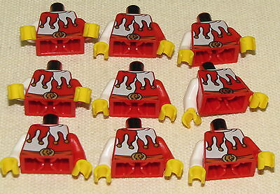 LEGO LOT OF 9 JESTER MINIFIGURE TORSOS RED AND WHITE CLOWN PIECES