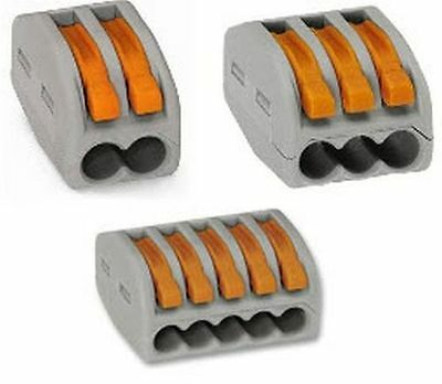 WAGO spring lever push fit reusable cable 2 3 & 5 wire connectors 32A 222-412