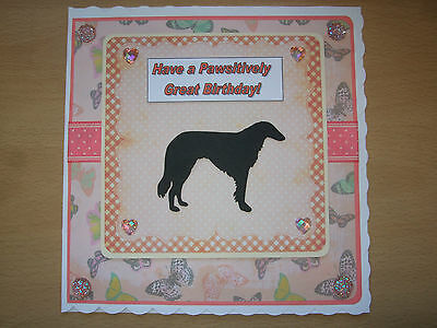 Handmade Borzoi Birthday Card Dog Greeting Puppy Russian Wolfhound Butterfly Lge