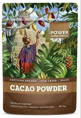1 x Cacao Powder Certified Organic Raw 1kg by Power Super Foods