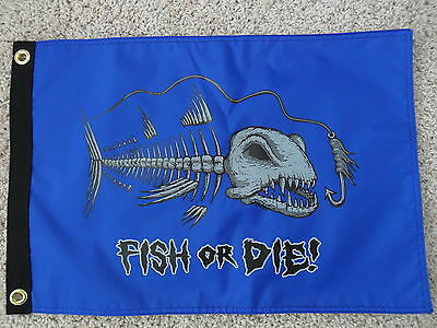 """12""""x18"""" """" Fish Or Die"""" Red /blue Pirate Flag Dbl Sided Nylon Boat  Made In Usa"""