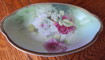 ERNST WAHLISS TURN VIENNA AUSTRIA PORCELAIN OVAL DISH SIGNED ROSES