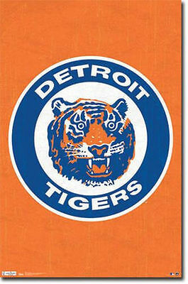 DETROIT TIGERS RETRO LOGO POSTER - 22 x 34 SHRINK WRAPPED - MLB ORANGE 1379