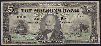 1912 The Molsons Bank $5 - Beehives, Steers