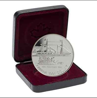 1991 $1 Canada Silver Proof Dollar Frontenac Steam Ship Canadian - RCM