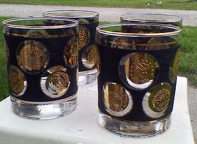 BOB WALLACK Glass COIN FAUX LEATHER DESIGN vintage SET OF FOUR --FREE SHIP