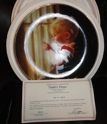 """DANBURY MINT COLLECTOR PLATE: WONDERS OF YOUTH#5 OF SET """"DADDY'S HOME"""""""