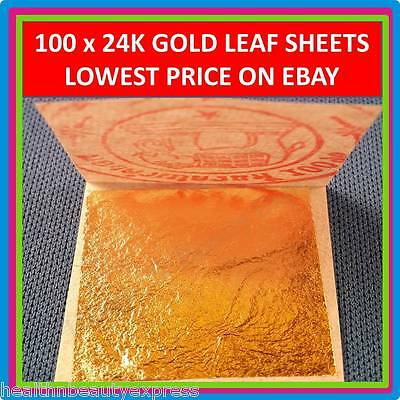 100 x EDIBLE GOLD LEAF SHEET 24K 999/1000 PURE REAL GENUINE LEAVES GILDING 1.18""