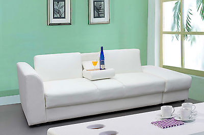 Modern White / Black Faux Leather 3 Seater Sofa Bed With Storage Ottoman