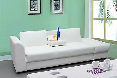 Modern White Faux Leather 3 Seater Sofa Bed With Storage Ottoman /Footstool