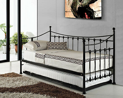Versailles Black / White French Metal Day Bed With Guest Pull Out Trundle Bed