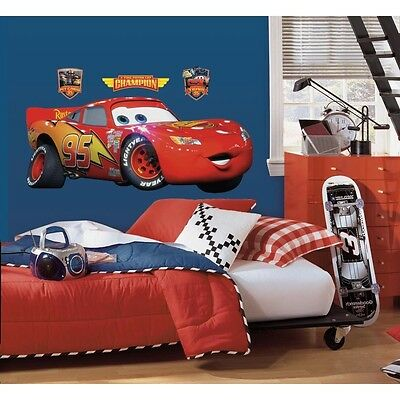 New GIANT LIGHTNING MCQUEEN WALL DECAL Disney Cars Movie Stickers Racing Decor