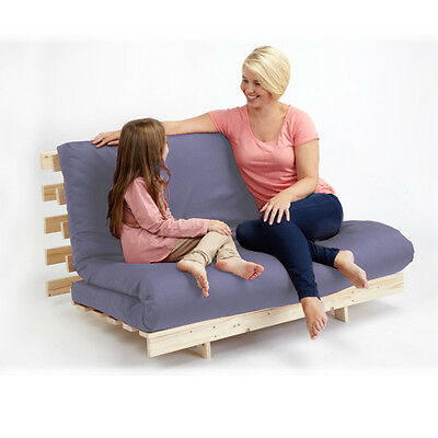 Lilac 4ft Double Children's Bedroom Futon Wooden Sofa Bed Cotton Twill Mattress