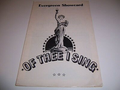 Evergreen Showcard New Anderson Theatre Playbill - Of Thee I Sing - Franz Penn
