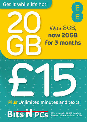 EE £15 Everything Pack Pay As You Go Sim Card - Standard, Micro & Nano Included