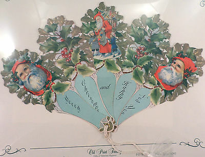 VINTAGE INSPIRED VICTORIAN PAPER FAN GREETING CARD MERRY CHRISTMAS SANTA HOLIDAY