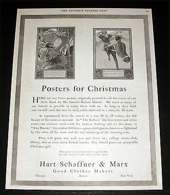 1907 Old Magazine Print Ad, Hart Schaffner & Marx, Latest Posters For Christmas!