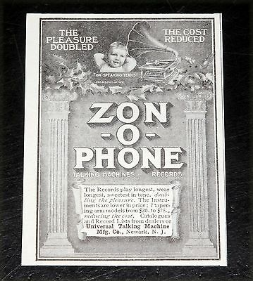 1907 Old Magazine Print Ad, Zon-O-Phone Talking Machines, Doubling The Pleasure!