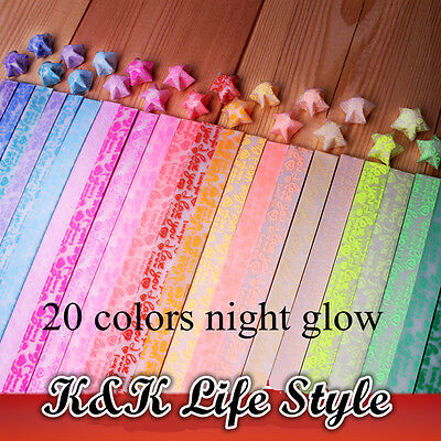 30 pieces -One pack Night Glow Origami Lucky Star Paper  -  one week special