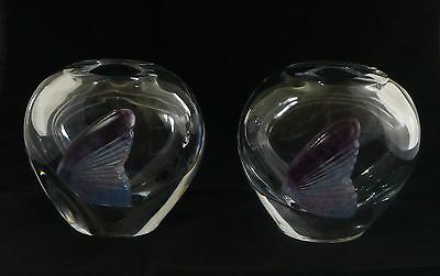 Pair Of Signed Daum France Lead Crystal Vases With Pate de Verre Fish