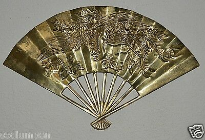 Beautiful Vintage Asian Wall Hanging Solid Brass Fan Ornate Dragon Peacock Rare