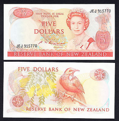 New Zealand 5 Dollars  Russell GEM UNC P. 171b ND  (1985-89) QEII $5 Note