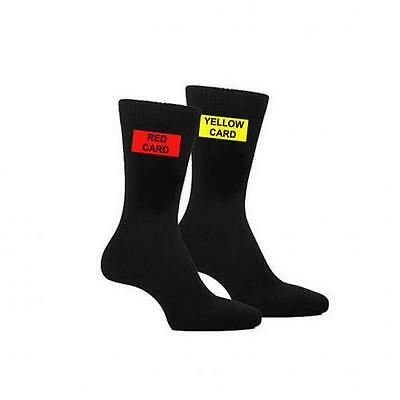 Red & Yellow Card Football Themed Mens Black Referee Ref Socks UK 5-12
