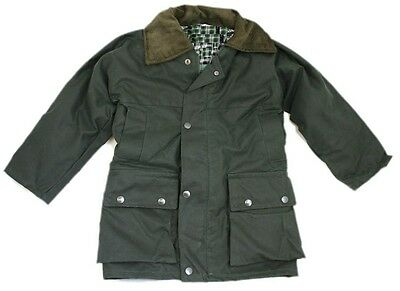Childrens Padded Wax Jacket Kids British Waxed Coat Cotton Warm Countrywear New