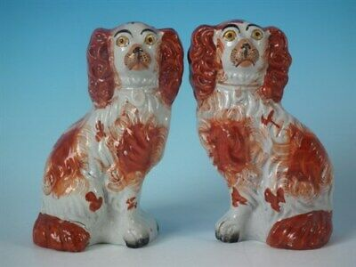 Pair Staffordshire russet & white No.6 spaniels