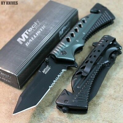 "8"" MTech Assisted Open RESCUE Pocket Knife - Black/Gray MT-A801GY zix"