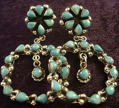 Taxco Mexican Sterling Silver Larimar Floral Flower Hoop Beaded Earrings Mexico