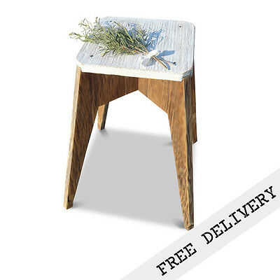 Rustic Wooden Stool Recycled Solid Timber Minimalist Chair White Free Delivery