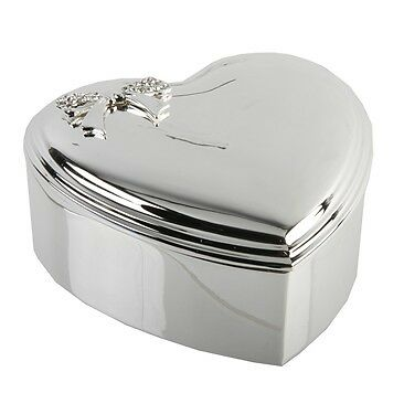 "Heart Silver plated Jewellery/Trinket Box - Crystal Box 3.5"" WY6880"