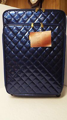"""Joy & IMAN Iconic Quilted Patent Wheeled 27"""" XL Dresser-SAPPHIRE-NWT"""