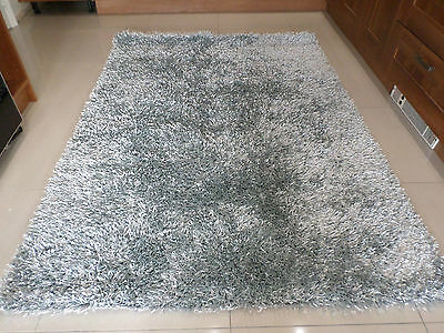Spider Silver Grey Luxury Sparkle Spaghetti Strand Shaggy Rug In Various Sizes