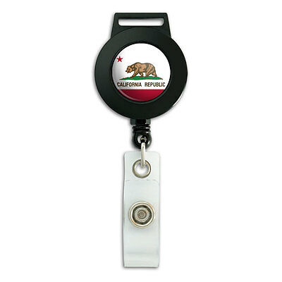 California Republic State Flag - Lanyard Retractable Reel Badge ID Card Holder