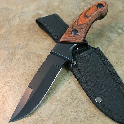 "8.5"" FULL TANG WOOD HUNTING KNIFE fishing survival tactical skinning 210979 zix"