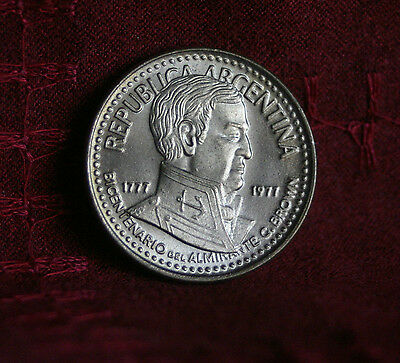 1977 Argentina 10 Pesos Unc World Coin Admiral G. Brown Ucirculated