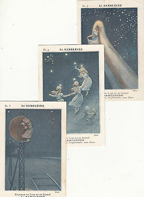 1800's French advertising group of 3 postcards for SAXOLEINE oils and perfumes