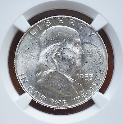 1953 D US Franklin Half Dollar Silver Coin  NGC MS63 FBL  Full Bell Lines