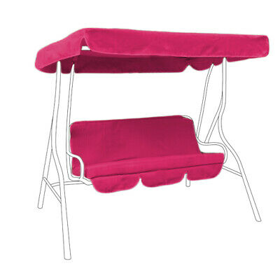 Pink Splashproof 2 Seater Garden Hammock Swing Seat Canopy Cover & Cushion Set