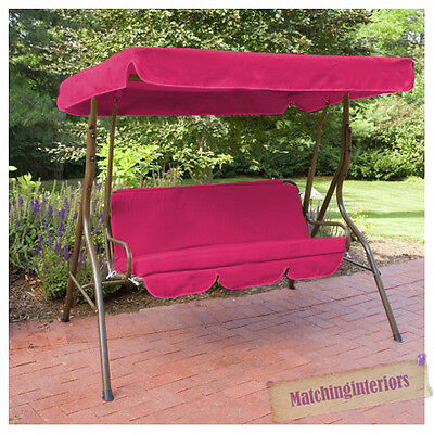 Pink Splashproof 3 Seater Garden Hammock Swing Seat Canopy Cover & Cushion Set