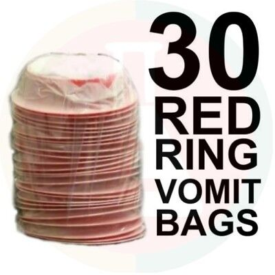 Vomit Bags X 30 First Aid Emesis Red Ring Twist & Seal New Stock!