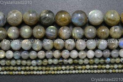 Natural Labradorite Gemstone Round Loose Beads 2mm 3mm 4mm 6mm 8mm 10mm 12mm 16""